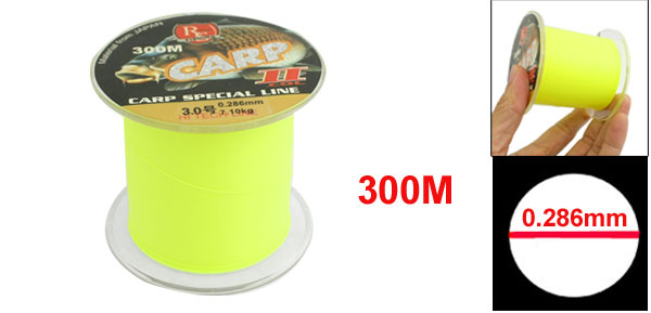 0.286mm Diameter 7.1Kg Yellow Green Nylon Freshwater Fishing Spool Line 300m
