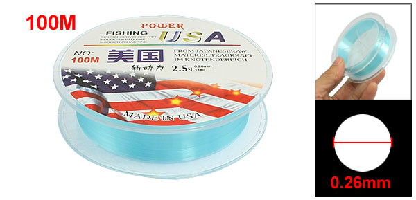 0.26mm Diameter 11Kg Blue Nylon Freshwater Fishing Spool Line 100M