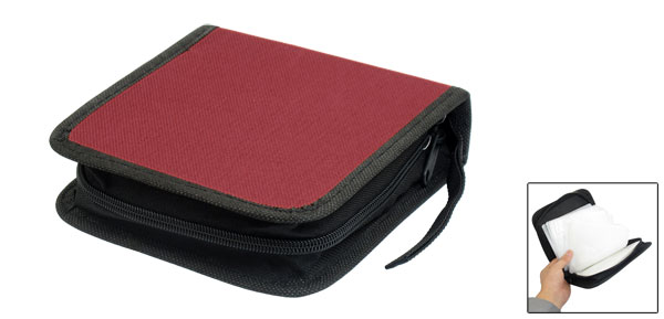 Square 40 Pcs Capacity CD Organizer DVD Carrying Case Red