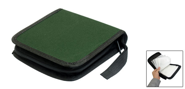 Zipper Closure 40 Pcs CD Discs Square Storage Case Box Dark Green