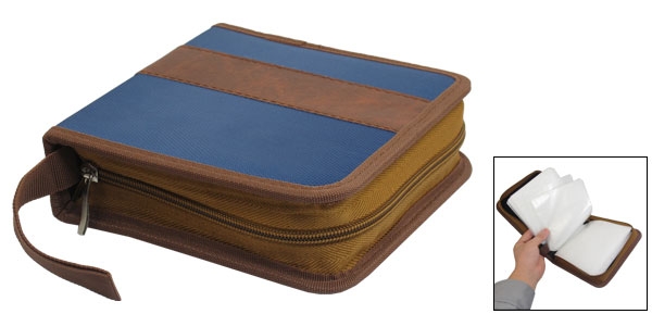 Dark Blue Brown 40 Pcs Capacity CD DVD Holder Square Storage Case Box