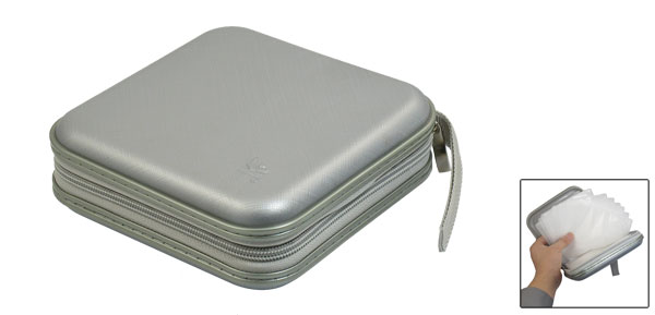 Gray Square Shaped 40Pcs Capacity CD DVD Organizer Carrying Case