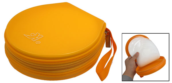 Orange Plastic Round 40Pcs Capacity CD DVD Organizer Case Holder