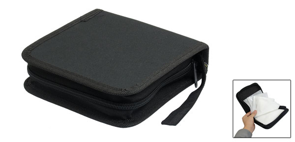 Black Square Shaped 40Pcs Capacity CD DVD Organizer Carrying Holder