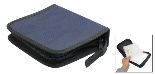 Dark Blue Square 40Pcs Capacity CD DVD Organizer Carrying Holder