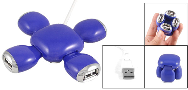 High Speed 480Mbps Blue Flower Style USB 2.0 4 Port Hub PC Splitter Adapter