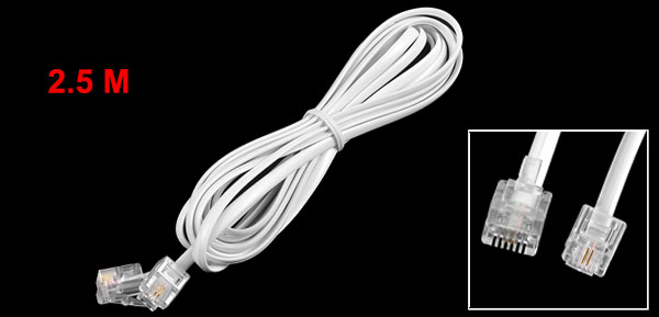 2.5 Meters 6P2C RJ11 Male Connector Fax Modem Telephone Line Cable White