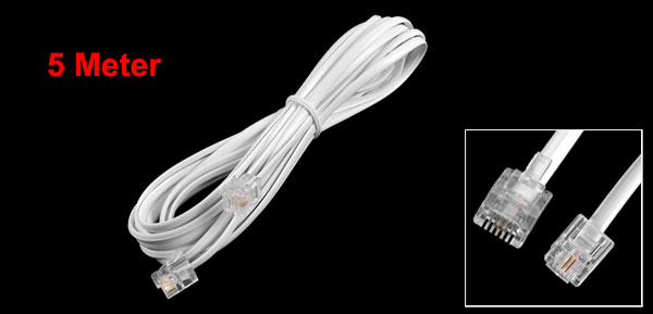 White Male to Male M/M 6P2C RJ11 Plug Telephone Phone Modem Line Wire 5 Meter