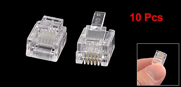 10 Pcs Clear Plastic Shell Modular 6P4C RJ11 Plug Telephone Line Connectors