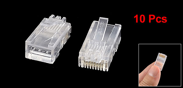 10 Pieces Clear Housing Modular RJ45 8P8C Plugs Lan Network Cable Connectors
