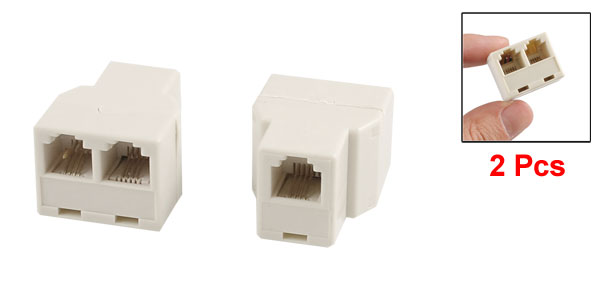 RJ11 6P4C 1 to 2 Female Plug 3 Ports Telephone line Splitter Connectors 2 Pcs