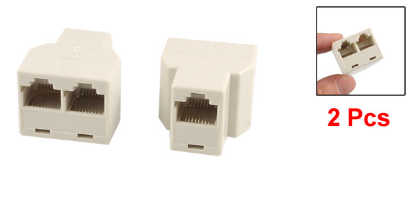 2 Pcs RJ45 8P8C Female to 2 Female LAN Network Modular Inline Couplers Beige