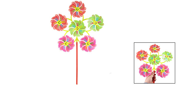 Smile Face Stripe Dot Pattern 6 in 1 Flower Shape Colorful Plastic Windmill Toy