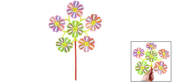 Smile Face Design Multicolor 6 Windmills Flower Petals Plastic Windmill Toy