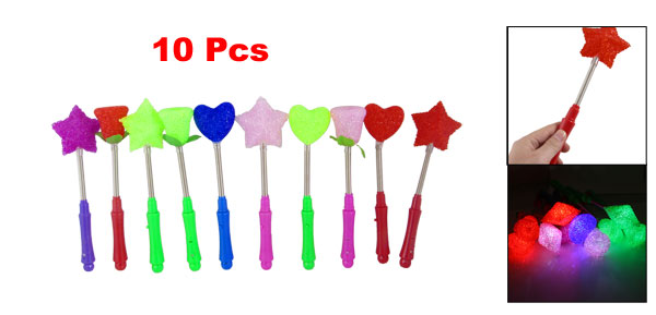 10 Pcs Assorted Color Star Rose Heart Shape Flashing Stick Plastic Toy