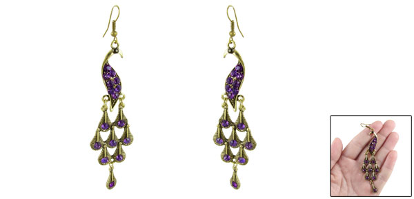 Pair Purple Rhinestone Accent Bronze Tone Peacock Pendant Fish Hook Earrings