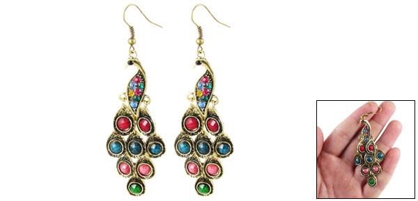Pair Multicolor Rhinestone Bronze Tone Peacock Pendant Dangle Ear Hook Earrings