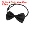 Dog Polyester Bowknot Shaped Adjustable Puppy Grooming Necktie Bowtie Black 2 Pcs