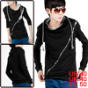 Men Casual String Front Ribbing Hem Pull...