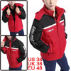 Men Stand Collar Seam Pockets Button Down Black Red Padded Coat M