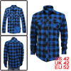 Mens Blue Black Single Breasted Plaids Pattern Pockets Top Fall S...