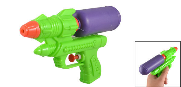 Pump Action Pressure Green Purple Plastic Squirt Water Gun Pistol Toy for Children