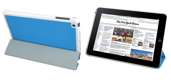 Blue Faux Leather Stand Case Cover Pouch Protector for Apple iPad Mini