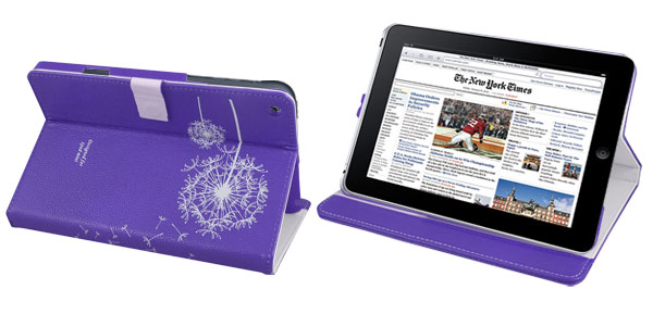 White Flowers Purple Faux Leather Tablet Stand Flip Case Cover for Apple iPad Mini