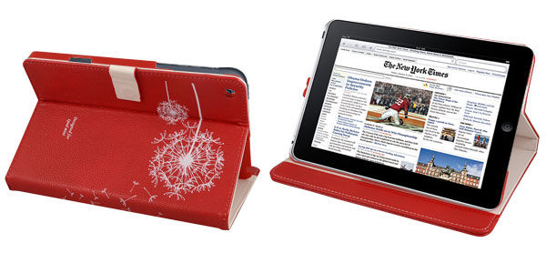 White Flowers Red Faux Leather Tablet Stand Flip Case Cover Pouch for Apple iPad Mini