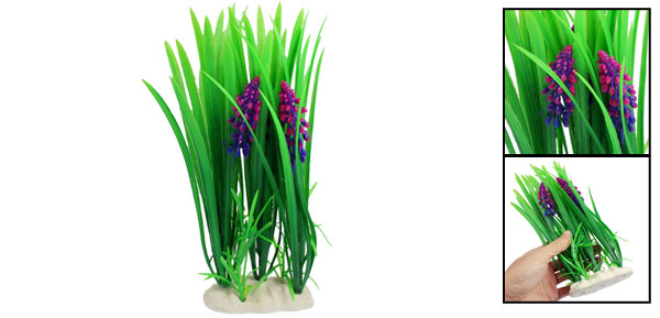 Fish Tank Fishbowl Decoration Blue Magenta Flowers Plastic Aquatic Plant