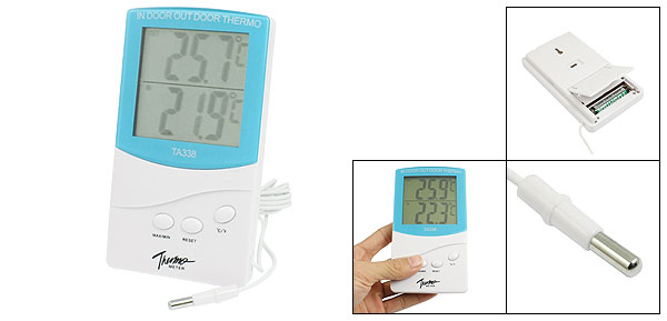 LCD Display Resettable Digital Indoor Outdoor Thermometer Blue White