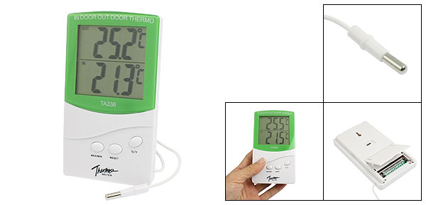 LCD Display Resettable Digital Indoor Outdoor Thermometer Green White