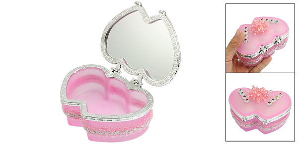 Plastic Beads Decor Flip Cap Double Heart Shape Pink Glass Jewelry Gift Box