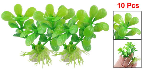 10 Pcs Aquarium Fish Tank Green Plastic Leaves Aquascaping Plant 3.3