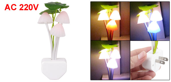 Pink White Silicone Mushroom Design LED Changing Light Night Lamp AC 220V