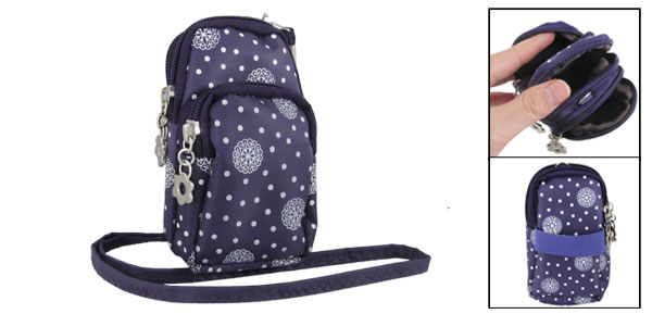 Purple Dot Pattern 2 Pockets Zip up Mp3 Cell Phone Wrist Bag Pouch Holder