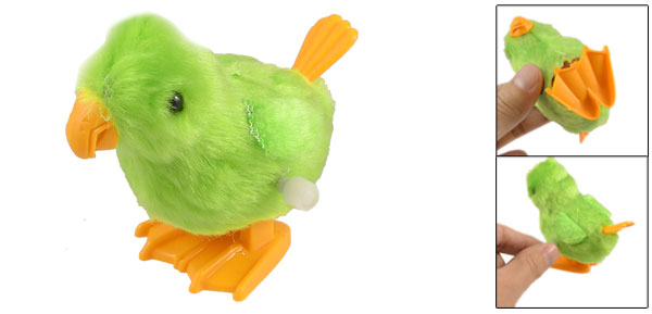 Kids Orange Legs Plastic Wind up Chicken Animal Toy Green