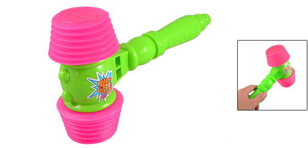 Children Green Plastic Handle Fuchsia Hammer Sound Musical Toy