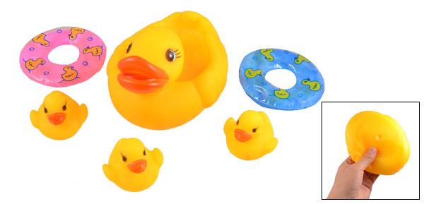 Child Soft Plastic Swimming Ring Squeeze Squeak Ducklings Ducks Toy Set Orange