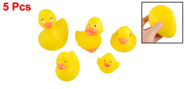 5 Pieces Squeeze Squeak Ducklings Ducks Family Toy for Children