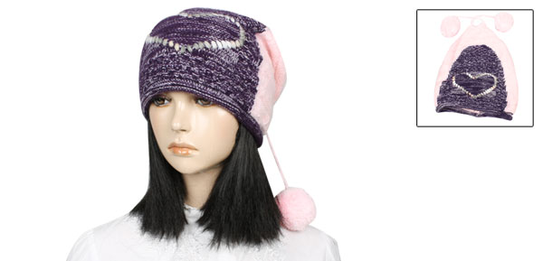 Heart Pattern Ladies Purple Pink Stretchy Winter Beanie Hat Cap
