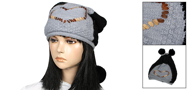 Heart Pattern Ladies Gray Black Stretchy Winter Earflap Beanie Hat Cap