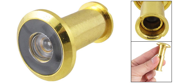 10mm Long Gold Tone Metal 35-50mm Thick Door Angle Viewer Peephole