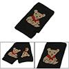 Beige Bear Prints Brim Knitted Fingerless Gloves Black Pair for L...