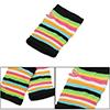 Ladies Colorful Stripes Pattern Fingerless Hand Knit Elastic Glov...