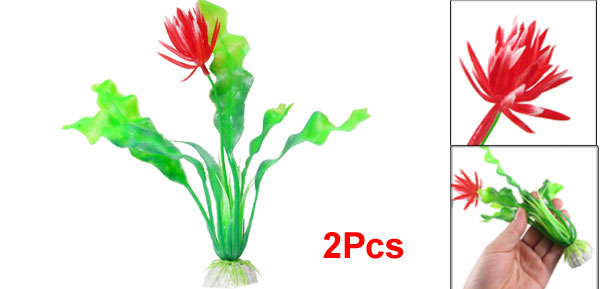 2 Pcs Red Green Plastic Flower Plant Ornament 7.9