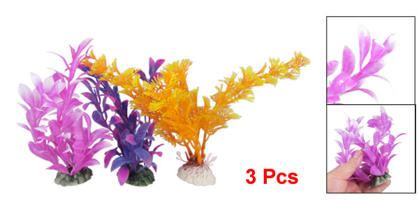3 Pcs Manmade Orange Purple Plastic Plant Ornament for Aquarium Fish Tank