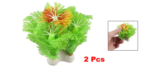 2 Pcs Emulational Green Orange Plastic Plant Aquarium Fish Tank Decoration 2.2