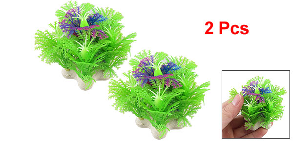 2 Pcs Light Green Purple Plastic Plant Aquarium Fish Tank Decoration 2.5