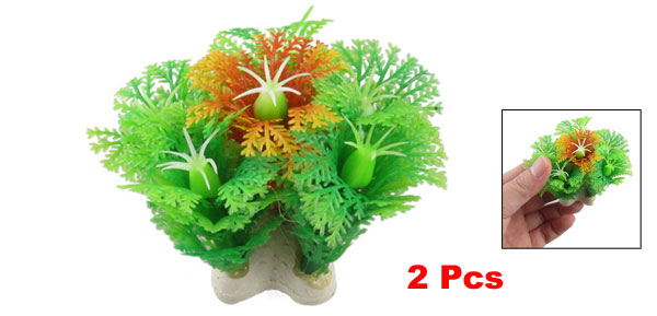 2 Pcs Simulated Green Orange Plastic Plant Ornament 2.5